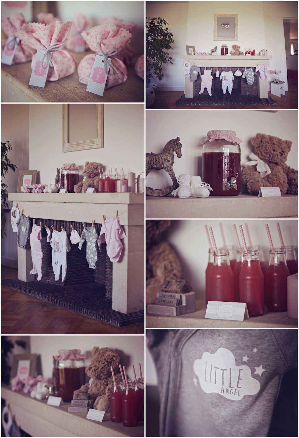deco baby shower gris et rose