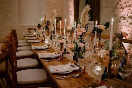 chemin de table vases