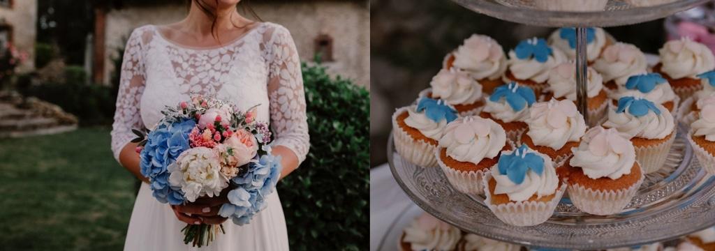 cupcakes pêche et bleu